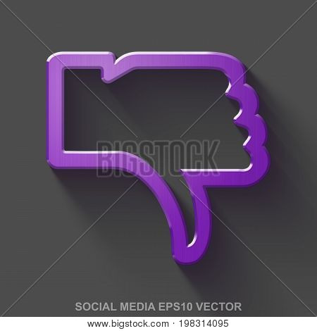 Flat metallic social media 3D icon. Purple Glossy Metal Thumb Down icon with transparent shadow on Gray background. EPS 10, vector illustration.