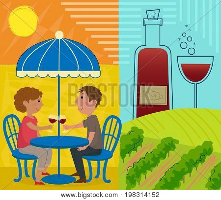 Couple are sitting around a table holding wine glass, and a vineyard with wine bottle and a glass in the background. Eps10