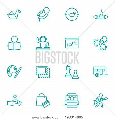 Collection Of Stamps, Hunting, Dj And Other Elements.  Set Of 16 Entertainment Outline Icons Set.