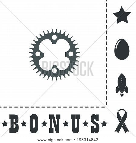 Bicycle sprocket. Simple flat symbol icon on white background. Vector illustration pictogram and bonus icons