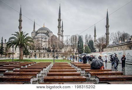 Istanbul Turkey - January 12 2013: The Blue Mosque Sultanahmet Camii under rain Istanbul Turkey
