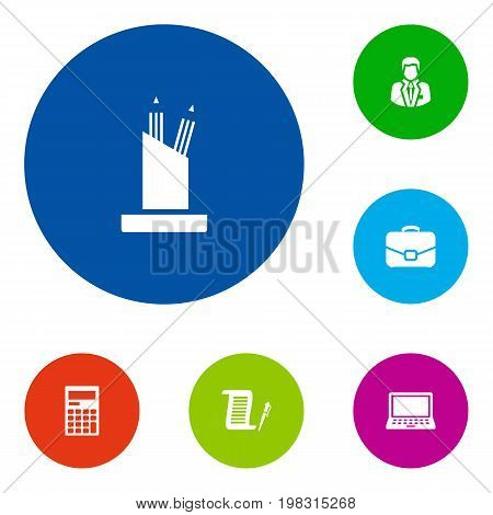 Collection Of Calculator, Manager, Pencil Stand Elements.  Set Of 6 Bureau Icons Set.