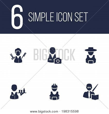 Collection Of Working, Leaner, Cameraman And Other Elements.  Set Of 6 Professions Icons Set.