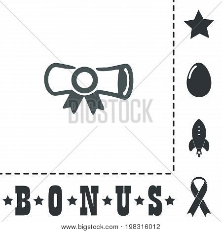 Diploma. Simple flat symbol icon on white background. Vector illustration pictogram and bonus icons