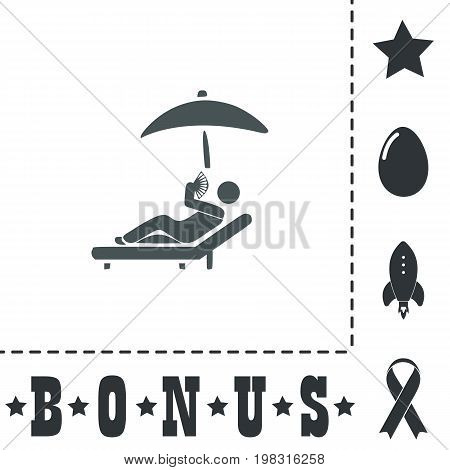 Relax under an umbrella on a lounger. Simple flat symbol icon on white background. Vector illustration pictogram and bonus icons