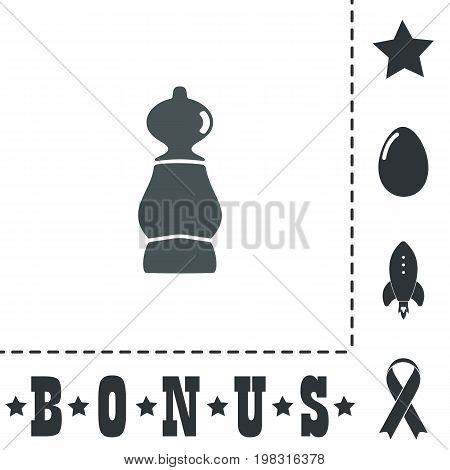 Chess pawn. Simple flat symbol icon on white background. Vector illustration pictogram and bonus icons