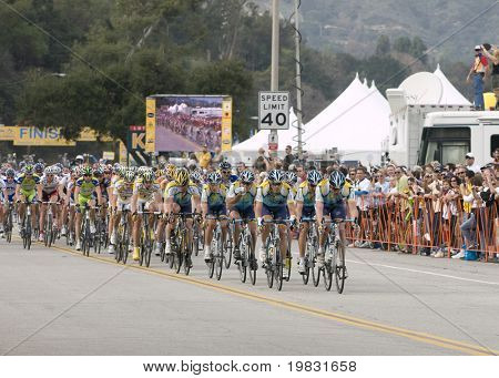 PASADENA, CA. - FEB 21: Lance Armstrong and Team Astana leading the peloton during stage 7 of the Amgen Tour of California February 21st 2009.