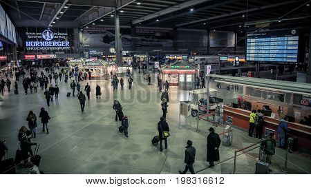 Munich Germany - February 2015 : Munich Hauptbahnhof is the main railway station in the city of Munich Germany.