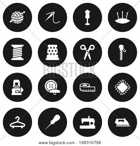 Collection Of Pins, Eyelet, Flatiron And Other Elements.  Set Of 16 Stitch Icons Set.