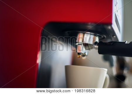 Close-up Coffee Pouring Machine Cooking