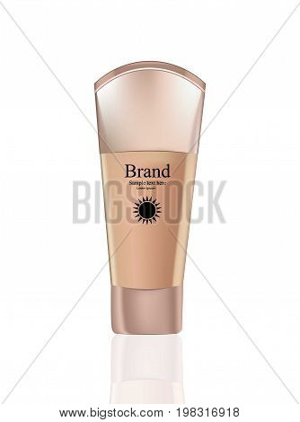 Vector realistic Cosmetics set package. Hydration cream, foundation or lotion. Perfect for advertising, flyer, banner, poster. 3d illustration