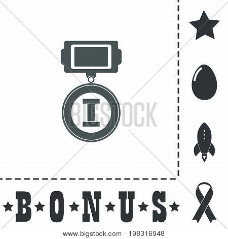 First place. Simple flat symbol icon on white background. Vector illustration pictogram and bonus icons