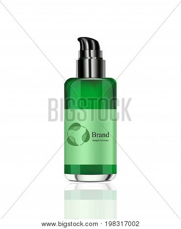 Vector realistic Cosmetics spray package. Hydration cream or face lotion. Green bio organic bottle. Perfect for advertising, flyer, banner, poster. 3d illustration