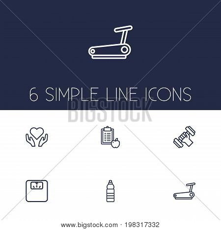 Collection Of Diet, Running Track, Water Bottle And Other Elements.  Set Of 6 Training Outline Icons Set.