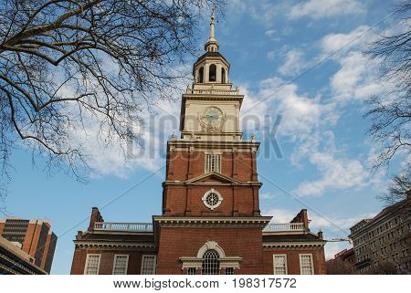 Independence Hall, Philadelphia, Pennsylvania, USA, landscape and building