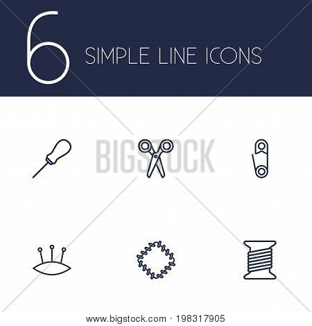 Collection Of Scissors, Bobbin, Pincushion And Other Elements.  Set Of 6 Stitch Outline Icons Set.