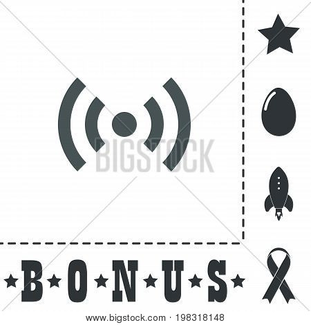 Flat Wi-Fi. Simple flat symbol icon on white background. Vector illustration pictogram and bonus icons