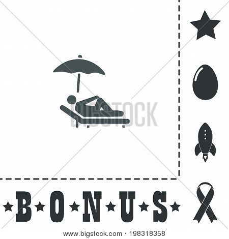 Simple Relax under an umbrella on a lounger. Simple flat symbol icon on white background. Vector illustration pictogram and bonus icons