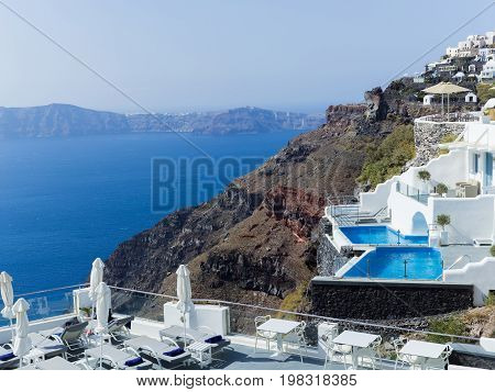 Landscape with sea of Santorini Island, Fira, Greece
