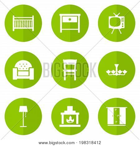 Collection Of Cupboard, Chimney, Bedside Table And Other Elements.  Set Of 9 Situation Icons Set.