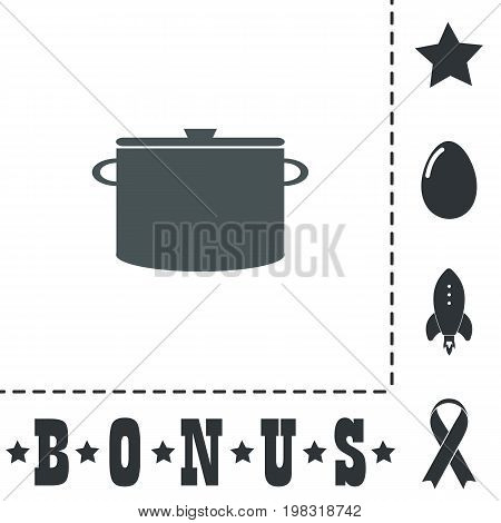 Kitchen pan. Simple flat symbol icon on white background. Vector illustration pictogram and bonus icons