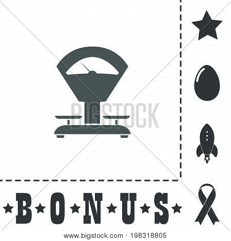 Weight Scale. Simple flat symbol icon on white background. Vector illustration pictogram and bonus icons