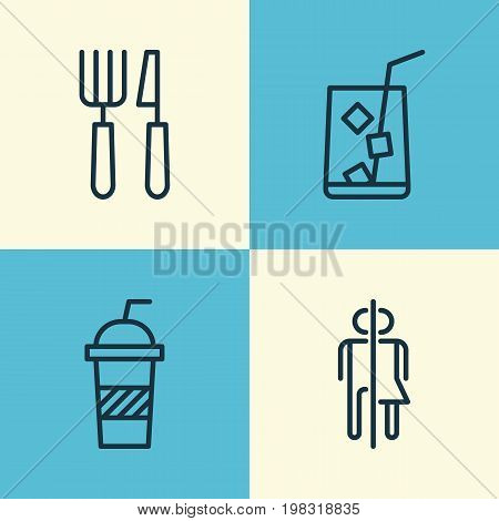 Cafe Icons Set. Collection Of Silverware, Soda, Lemon Juice And Other Elements