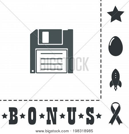 Diskette Save. Simple flat symbol icon on white background. Vector illustration pictogram and bonus icons
