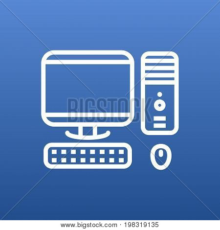 Vector PC Element In Trendy Style.  Isolated Computer Outline Symbol On Clean Background.