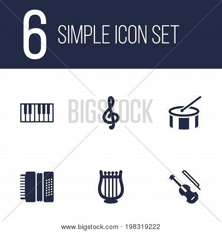 Collection Of Fiddle, Tambourine, Quaver And Other Elements.  Set Of 6 Melody Icons Set.