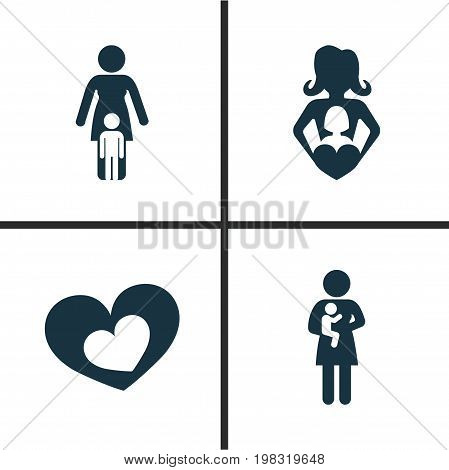 Mothers Day Icon Design Concept. Set Of 4 Such Elements As Nanny, Shape And Relations