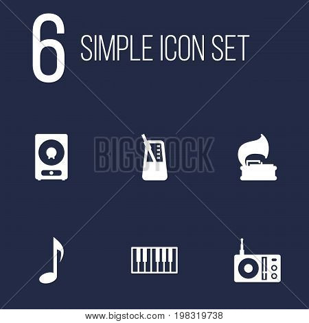 Collection Of Octave Keyboard, Tone Symbol, Amplifier And Other Elements.  Set Of 6 Music Icons Set.