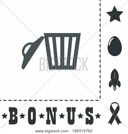 Trash can. Simple flat symbol icon on white background. Vector illustration pictogram and bonus icons
