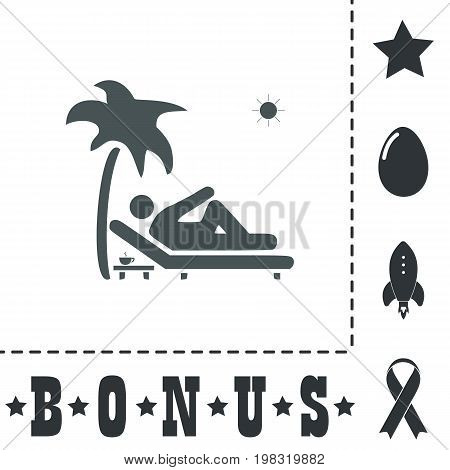 Man relaxing on a deck chair under palm tree and standing table with a cup of coffee. Simple flat symbol icon on white background. Vector illustration pictogram and bonus icons