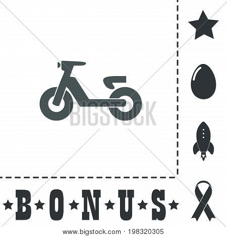 Scooter or moped. Simple flat symbol icon on white background. Vector illustration pictogram and bonus icons