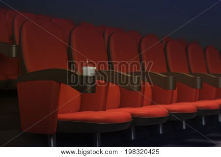 Row of red movie cinema theater armchairs with drink. Premiere concept. Side view. 3D Rendering