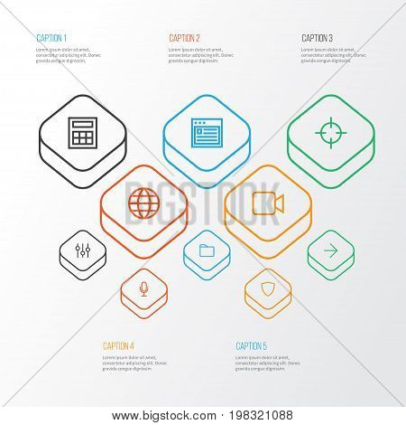 Interface Outline Icons Set. Collection Of Audio, Stabilizer, Browser And Other Elements