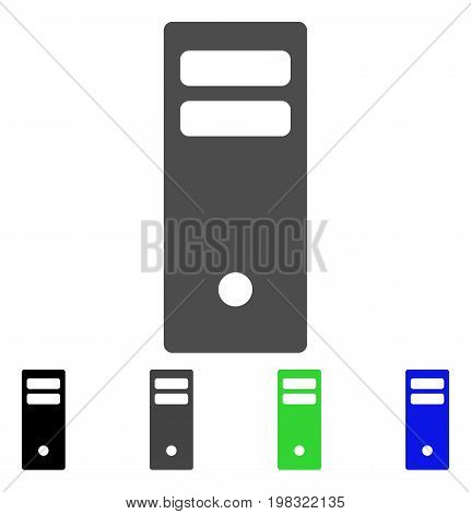 Server Mainframe flat vector illustration. Colored server mainframe, gray, black, blue, green pictogram variants. Flat icon style for application design.