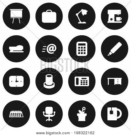 Collection Of Message, Case, Label And Other Elements.  Set Of 16 Bureau Icons Set.