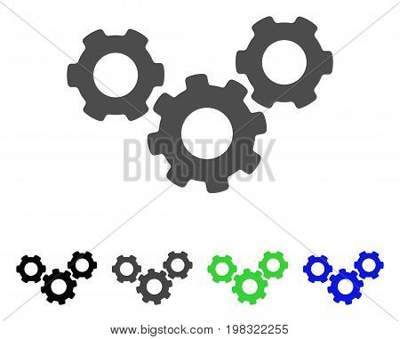 System Gears flat vector pictograph. Colored system gears, gray, black, blue, green icon versions. Flat icon style for application design.