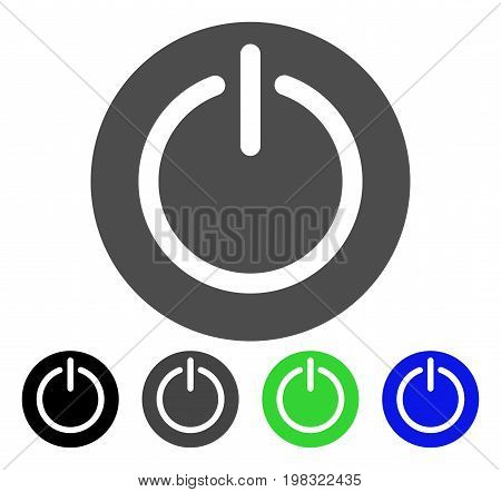 Turn Off Power flat vector pictogram. Colored turn off power, gray, black, blue, green icon versions. Flat icon style for graphic design.
