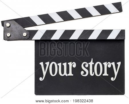 your story concept - a movie title in white chalk on an isolated clapboard