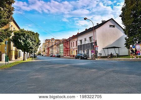 Lovosice, Czech Republic - July 05, 2017: Black Car Opel Astra H In Dlouha Street With Old Houses At