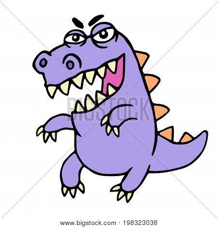 Wild purple cartoon dragon. Vector illustration. Cute imaginary animal character.