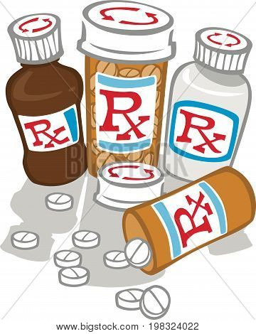 Bottles of medicines with pills strewn about