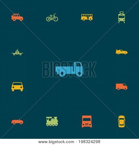 Collection Of Cabriolet, Lorry, Coupe And Other Elements.  Set Of 13 Shipping Icons Set.
