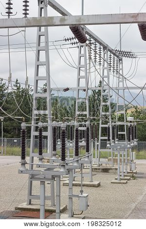 Electric Power Substation With Circuit Switcher, Regulators And Recloser