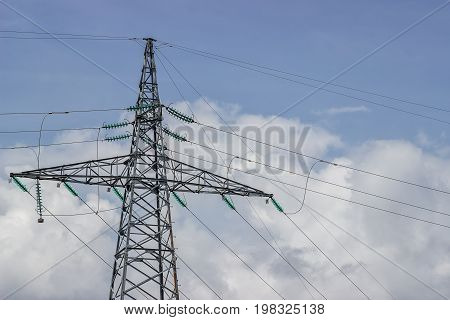 Electricity Pylon Supporting Wires For Electrical Power Distribution