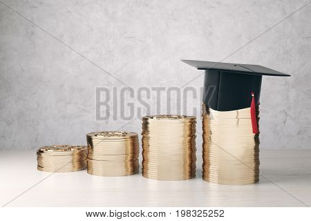 Golden coin piles with mortarboard on concrete background. College loan concept. 3D Rendering