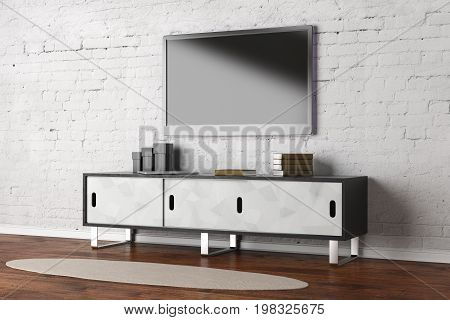 TV set with empty screen in living room interior with white brick wall wooden floor and rug. Entretainment concept. Mock up 3D Rendering